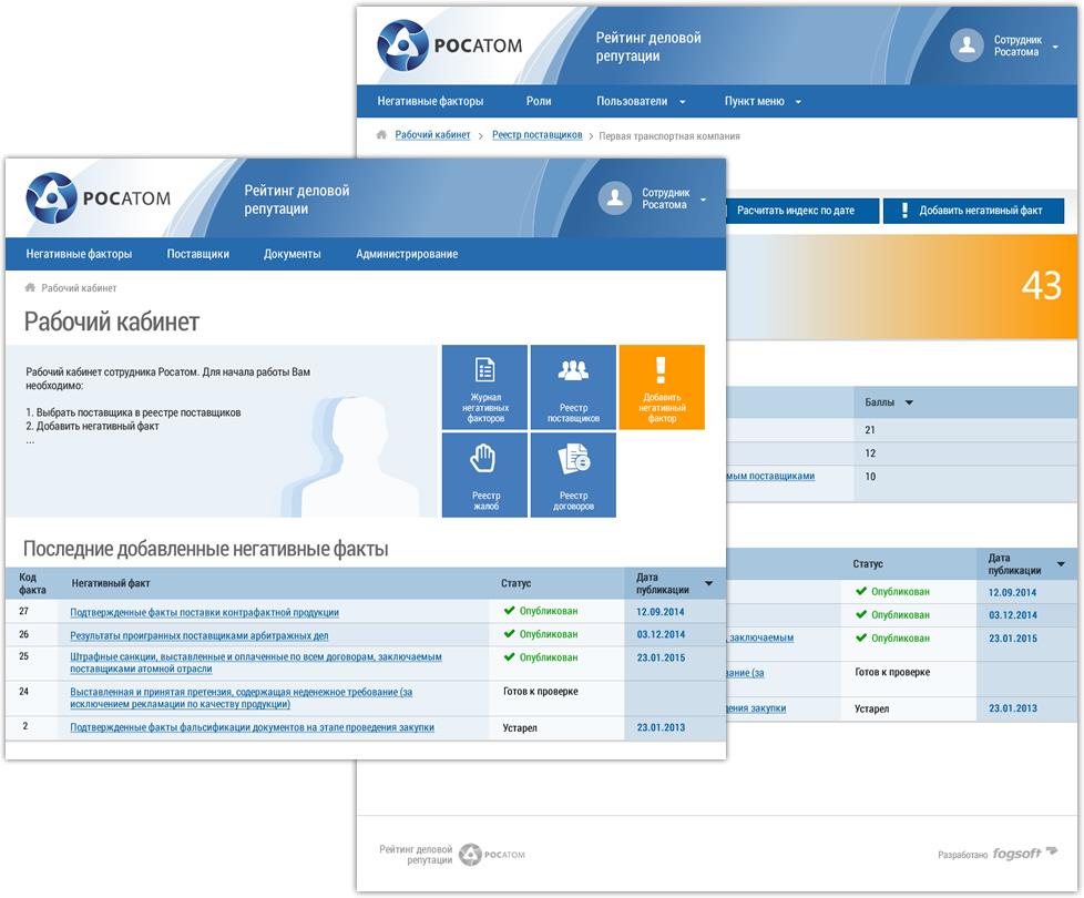 Система расчета индекса деловой репутации и формирования рейтинга поставщиков ГК Росатом